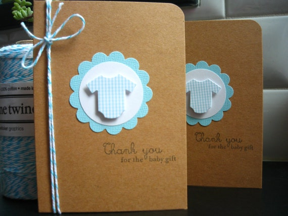 items similar to baby gift thank you cards set of 6 blue