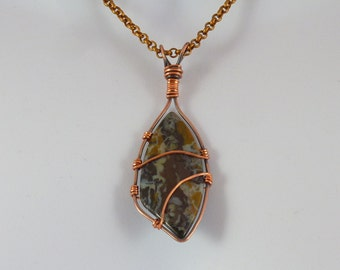 Wire Wrapped Peacock Jasper Pendant