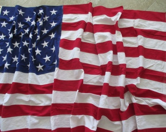 extra large 5' x 9.5' cotton American flag-  50 star, Fourth of July, Memorial Day, embroidered stars