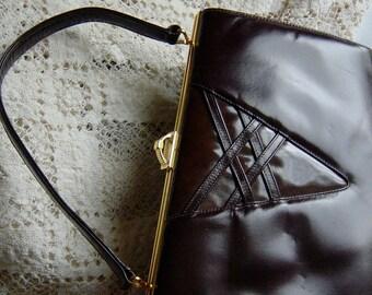 Vintage 1960s Handbag Brown Lattice Leather LBF Kelly Bag