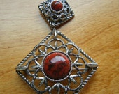 Inca Fire 1970's Vintage Sarah Coventry Brooch /Pendant, Interchangeable Vintage Jewelry