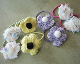 Crochet floral or Shabby Chic pony tail holders //One of a Kind Hair Accessory