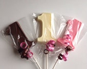 24 Number One FIRST BIRTHDAY Chocolate Lollipop Party Favors Made to Order