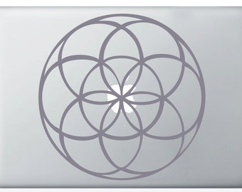 Seed of Life laptop DECAL- vinyl sticker, macbook iPad computer- mandala, sacred geometry rainbow Holographic