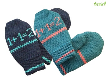 Mittens - 1, 2, 3 years  100% merino wool new baby/child/kid DOUBLE knitted knit hand made mitts