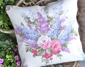 Antique English Cabbage Rose & Lilac Floral Pattern Decorative Designer Custom Vintage White Barkcloth Fabric Throw Pillow