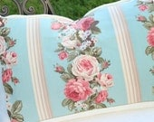 Antique English Cabbage Roses Floral Pattern Decorative Vintage 1930s Fabric Throw Pillow