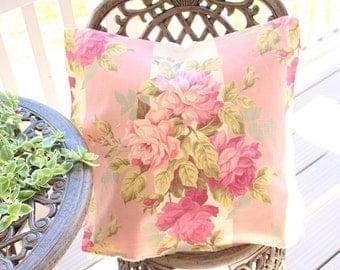Antique Rose Pink & Cream Vintage Floral Fabric Custom Decorative Throw Pillow