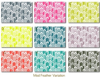 Custom Baby Crib Bedding -Design Your Own- Mod Feather Variation