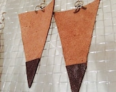 Handmade brown leather and suede triangle earrings