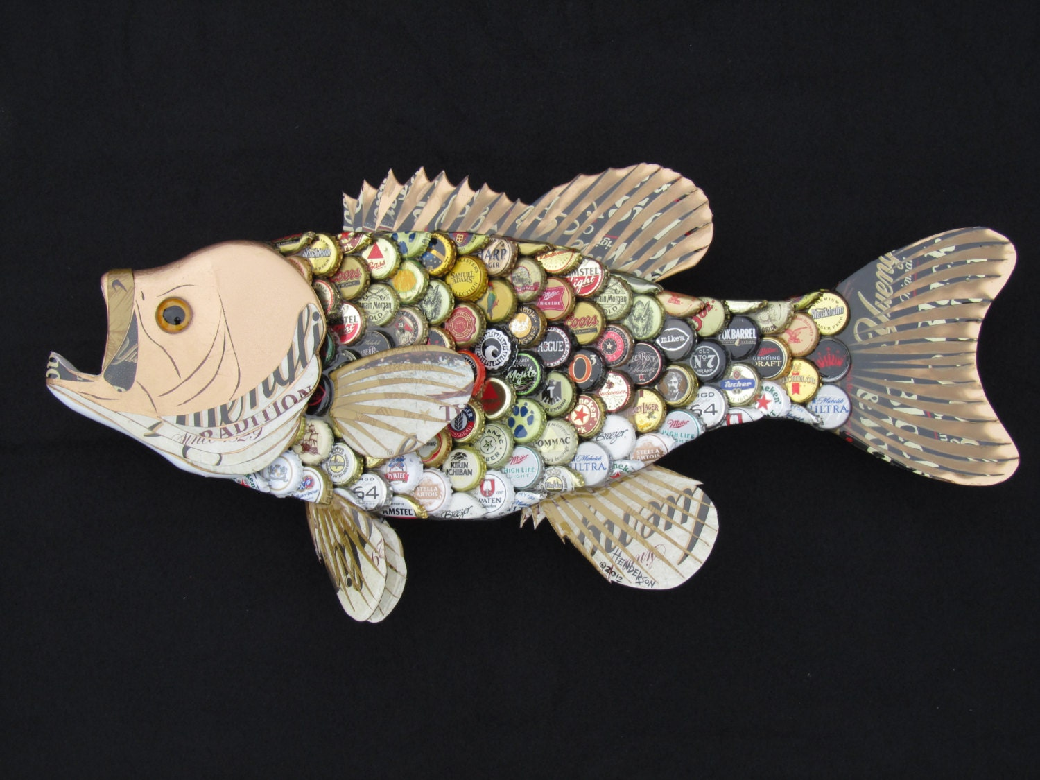Metal bottle cap wall art large mouth bass by ericseasel for Bottle cap wall