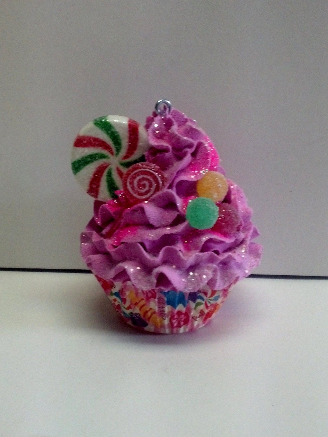Candy Fake Cupcake Christmas Tree Ornament with Sugar Plum Frosting for Holiday Decorations, Shop Displays, Home Accents, Candy Party