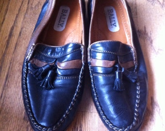 Bally vintage tassel loafers 10 black tan