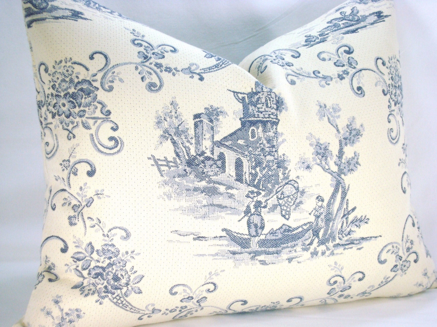 decorative pillow toile de jouy matelasse pillow accent lumbar. Black Bedroom Furniture Sets. Home Design Ideas