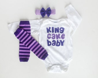 Mardi Gras King Cake Baby Bodysuit and Purple Baby Leg Warmers and Bow Headband