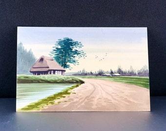 JAPANESE WATERCOLOR POSTCARD. watercolour painting. japan No.002030