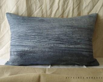 "Sea inspired Linen throw Pillowcase. 14""x 22"" Blue.. Brightness of blue  /  FRAGMENTS. Coastal home decor"