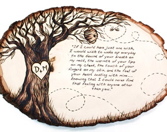 Personalized Family Tree Wood Burned Tree Slice Holiday