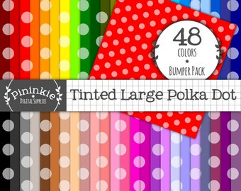 Digital Paper Polka Dot, Dotty Digital Paper, Instant Download, Commercial Use, Large Polka Dots, Background Papers, Scrapbooki