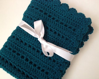 Teal baby blanket crochet