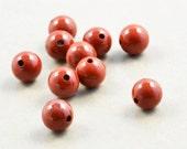 Red Jasper Beads, 6mm Round Stone Beads, Ten