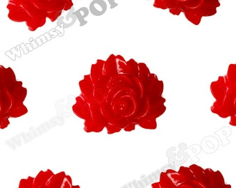 Red Vintage Style Peony, Resin Flatback Cabochons, Flower Shaped, Flower Cabochons, Flower Cabs,  Peony Cabochons 16MM x 12MM (R1-216,C1-19)
