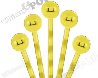 25 PACK - Bobby Pins, Lemon Yellow Bobby Pin Blanks, Painted Bobby Pins, Color Bobby Pins, Bobbie Pins, 50mm wide, 8mm Glue Pad (R7-153)