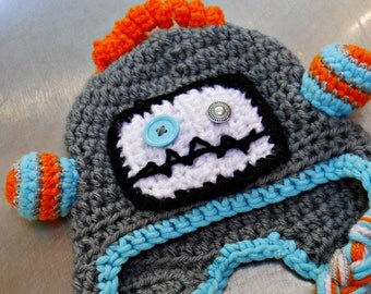 Crochet Robot Hat for Baby