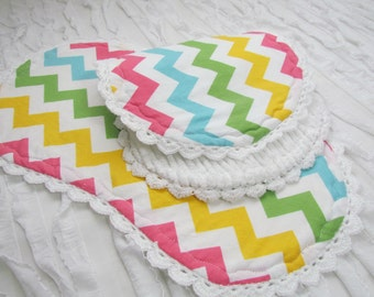 "Baby burp cloths- 2 -10"" x 18""- burp cloths with Riley Blake chevron cotton front and white chenille back, hand crochet trim"