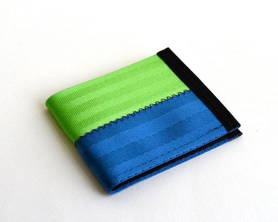 Vegan wallet in blue and lime green - seatbelt wallet