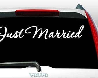 Just Married Vinyl Decal Car Decal Honeymoon Bound Wedding