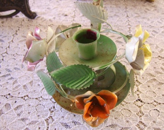 Vintage Shabby Chic Chippy rusty Paint Metal Floral Handled Candleholder