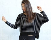 New Years Sale Stripes kimono cut sweater,woman's sweater- B&W