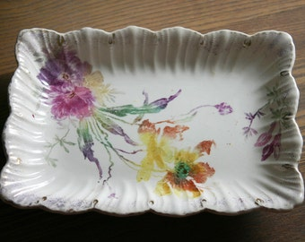 Vintage Floral Rectangle Scalloped China Vanity Tray