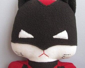 Batwoman cat, the Comic Cat Superhero, stuffed animal plush toy, handsewn, ecofriendly