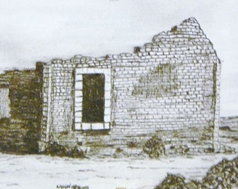 """Pencil drawing of an old building or abandoned ruins in black and white, Original drawing, 6 x 4"""""""