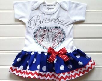 Baseball Dress Girls Custom Boutique Dress Baby Dresses Infant Dress Baseball Dress Chevron Dress Available  0-3 months through 6/9 months