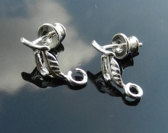 2 PAIRS Sterling Silver  Ear Posts with Ear nuts earrings 925 Nickel Free