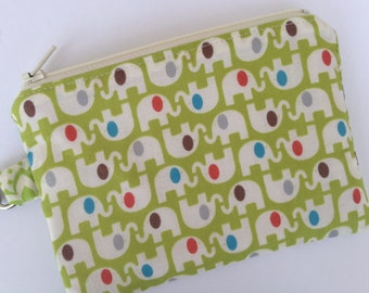 Cute Little Elephants Small Zippered Pouch