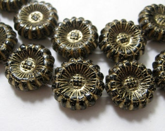 Czech Glass Beads Pressed Glass Sunflowers Two Hole Jet  Black and Gold Crackle 12mm 10 pieces