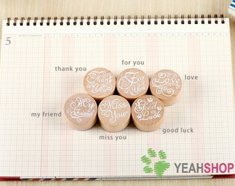 Vintage Round Wooden Rubber Stamp Decoration Stamp with Blessing