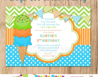 BOYS ICE CREAM invitation - You Print