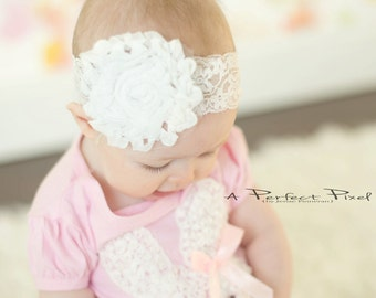 Shabby flower headband- White headband - Big flower headband- baby headband- lace flower headband