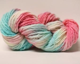 Thick and Thin Yarn Slub TTS Handdyed  Fine Merino 66tts14003 Pink and Blue