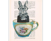 Rabbit in Cup: Mixed Media - Digital Illustration Print - Art Poster - Acrylic Painting - Holiday Decor - Drawing Illustration