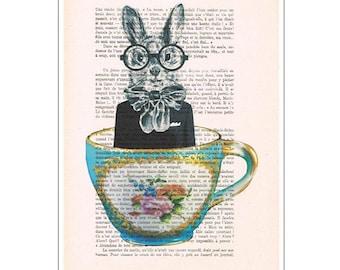 Rabbit in Cup: Mixed Media - Digital Illustration Print - Art Poster - Acrylic Painting - Holiday Decor - Drawing Illustration