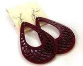 Teardrop Dreamcatcher Hook Earrings in Red Stained Maple - Large - Sustainably Harvested Wooden Dangle Earrings