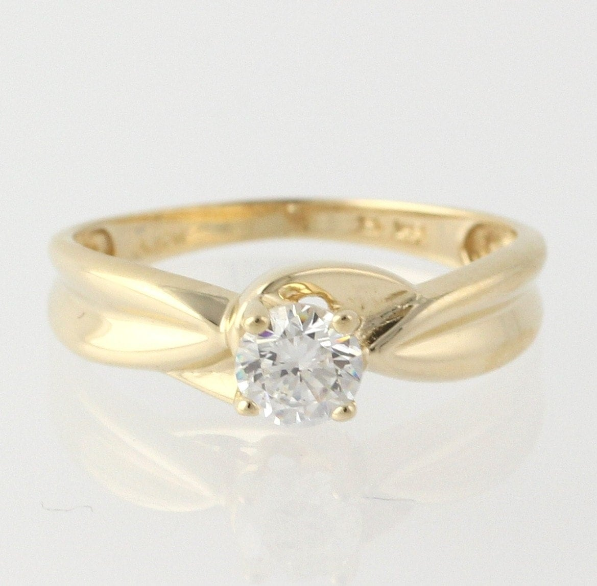 Engagement Ring Cubic Zirconia 14k Yellow Gold By WilsonBrothers