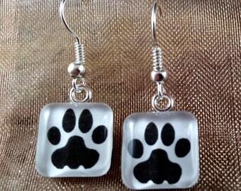 Paw Print - Glass Earrings
