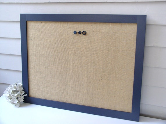 Modern magnetic burlap bulletin board with handmade navy blue for Modern cork board